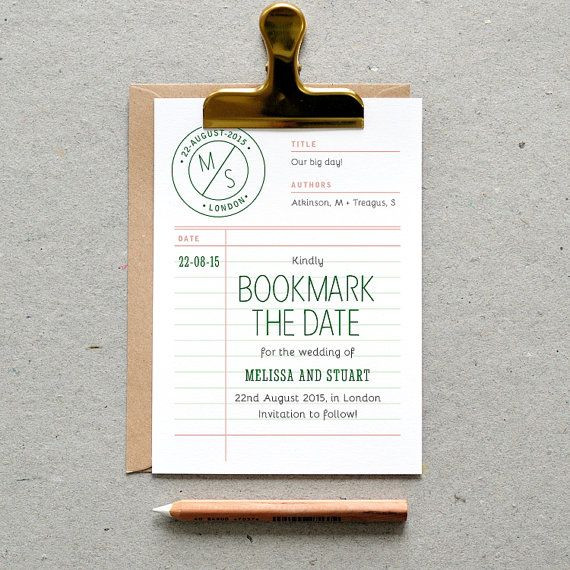 Printable Wedding Save The Date Pdf 39 Library Borrower Card 39 Fun Retro Card Green Grey Rose Digital File Only Printing Also Available