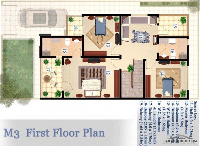 مخطط فيلا 10 20 متر 200 متر مربع 4 غرف نوم نيو أزادي Residential Architecture Floor Plans Wc Bathroom