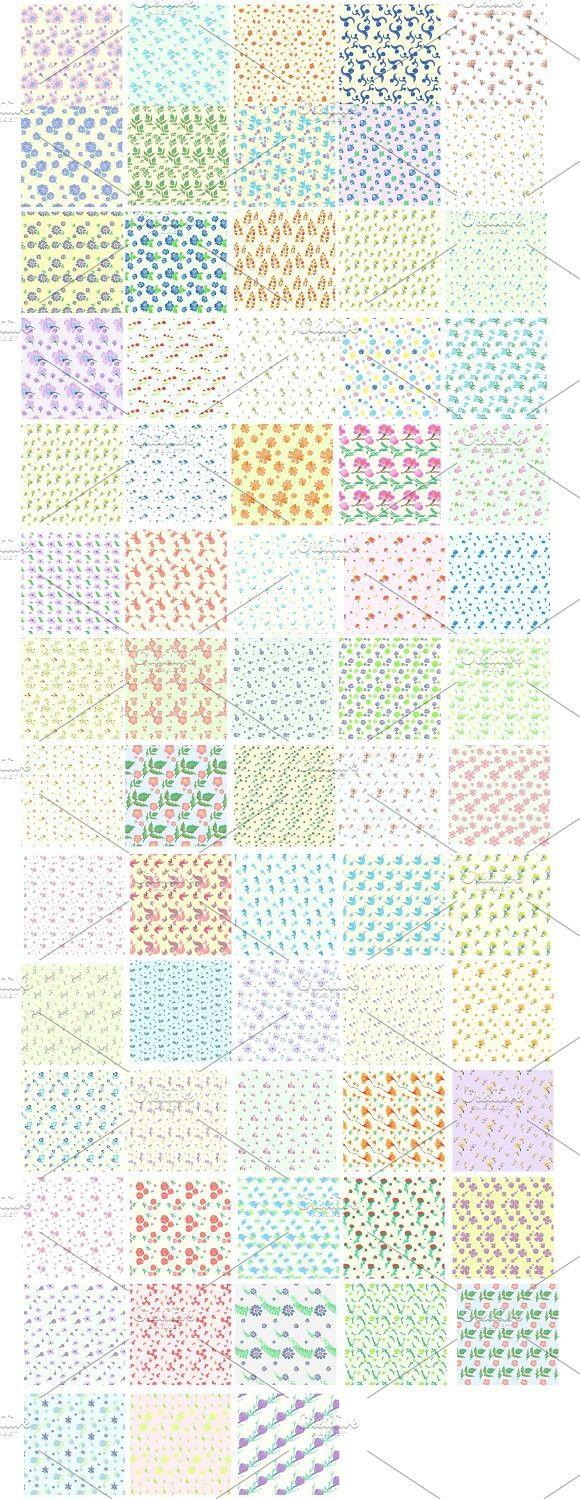 67 Watercolor Flowers Patterns pack. Watercolor Flowers