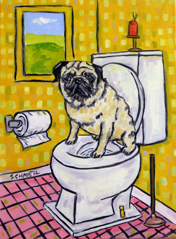 pug dog laundry room  art print 8x10 animals artist impressionism modern