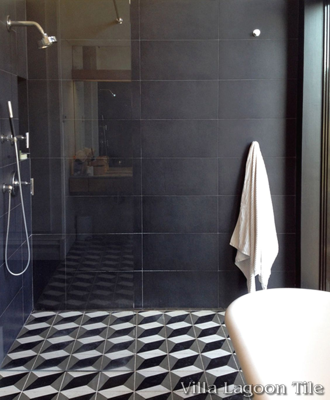 Large Cubes cement tile bathroom floor and shower ...
