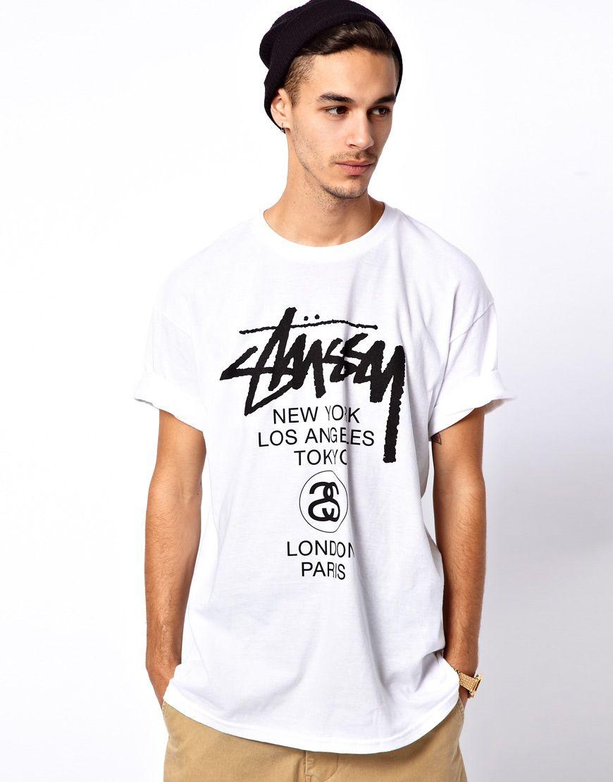 748de63b11b0e Stussy T-Shirt With World Tour Print