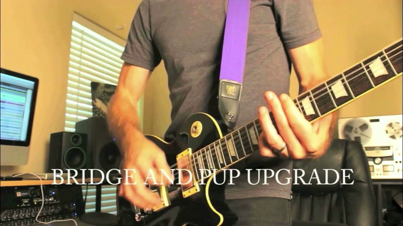 Epiphone Les Paul comparison before and after new pickups and bridge