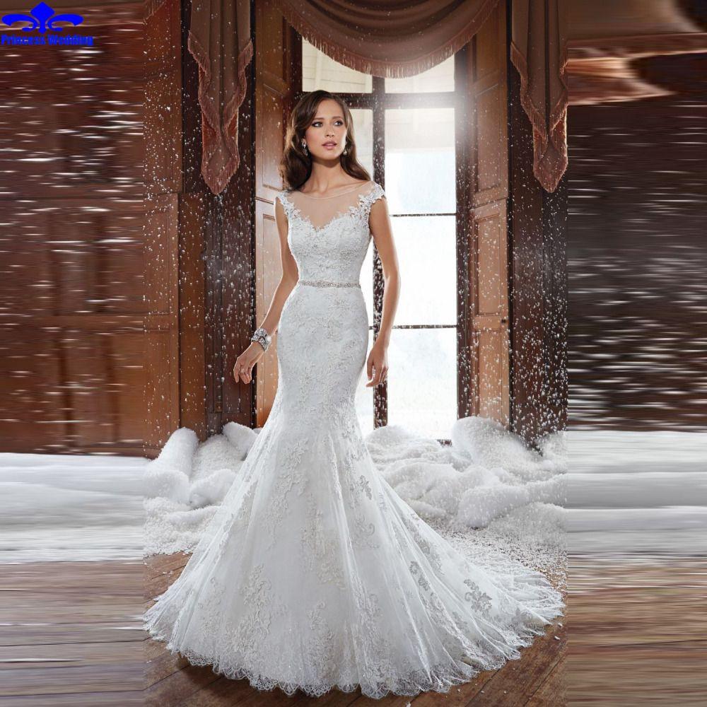 Lace mermaid wedding gowns with long trains   New Mermaid Wedding Dress Elegant Lace Appliques Chapel Train