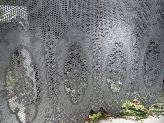 vintage white lace floral rose curtains valance panel on Etsy, $14.29