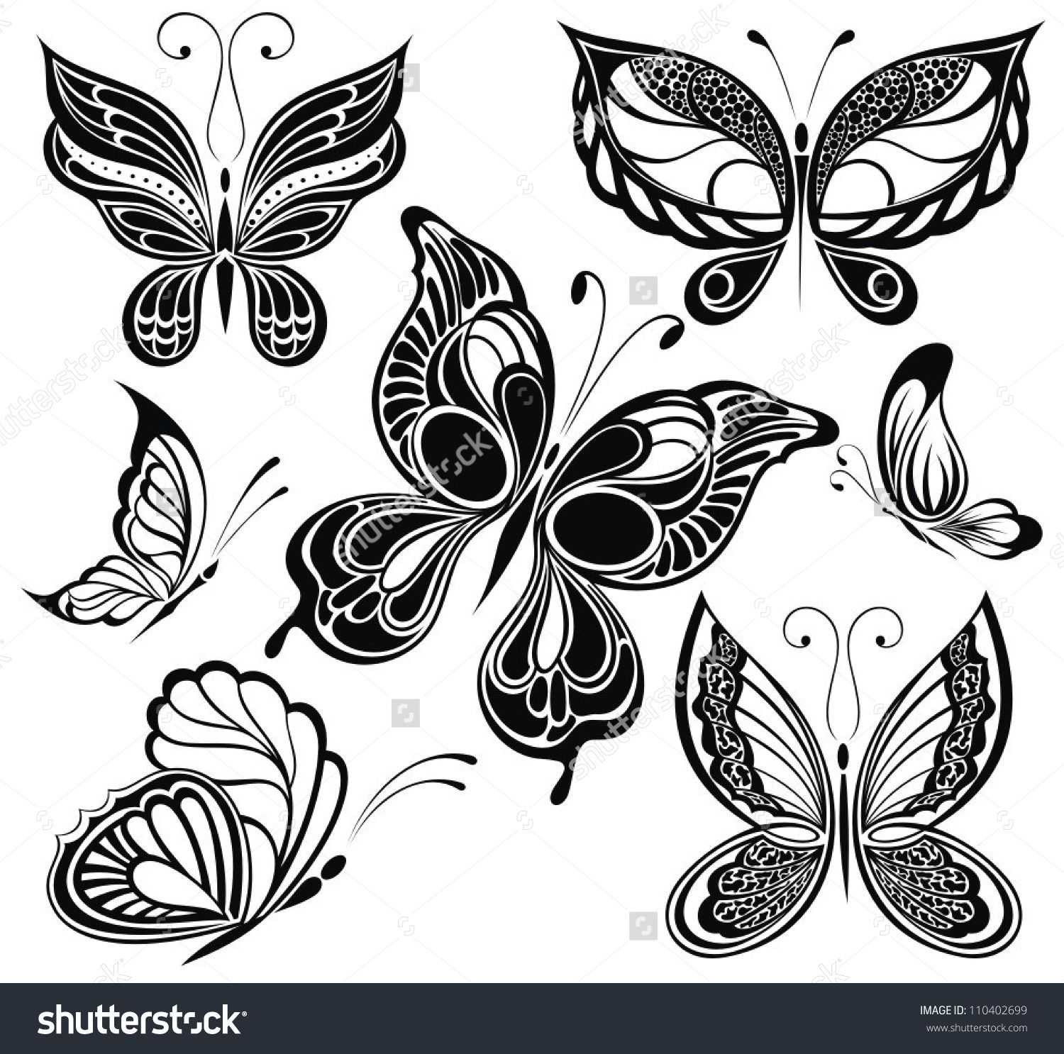 Black and white butterflies tattoo design stock vector for Black and white tattoo artists
