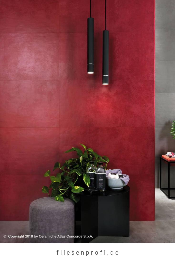 Wandfliese Zementoptik rot matt 40x80 \