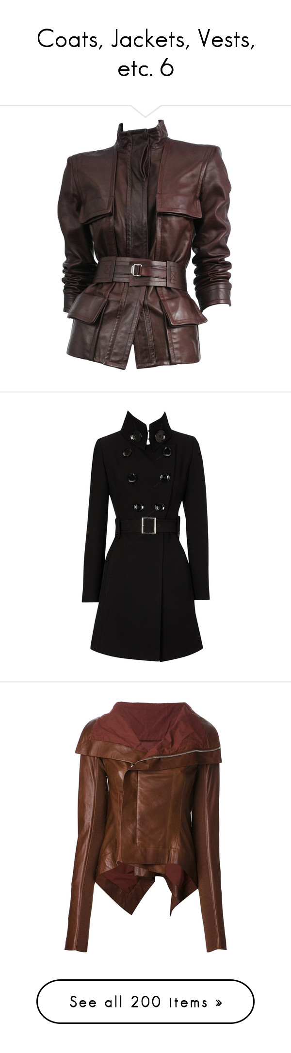 """""""Coats, Jackets, Vests, etc. 6"""" by just-call-me-chuck ❤ liked on Polyvore featuring outerwear, jackets, coats, coats & jackets, multiple, belted jacket, jacket with belt, genuine leather jacket, brown jacket and 100 leather jacket"""