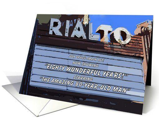 Happy birthday eighty vintage theater card historic theatre humor 80th birthday cards m4hsunfo