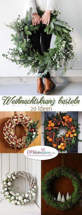 Begrüßt den Advent mit einem Kranz an der Tür – Weihnachtskranz basteln #gem…,  #Advent #ad…