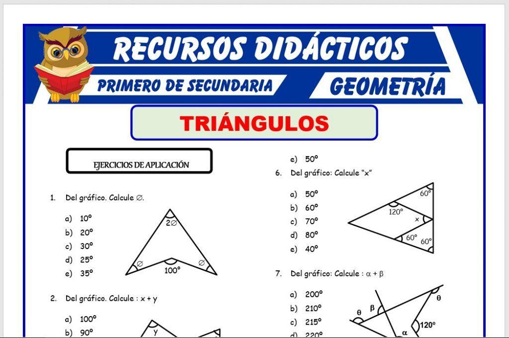 Ejercicios De Geometría Para Primero De Secundaria Recursos 2020 Calculo De Angulos Material Docente Secundaria
