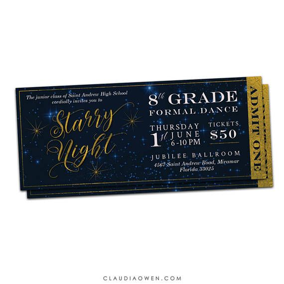 Prom Tickets Starry Night High School Prom Ticket Senior Prom Ticket