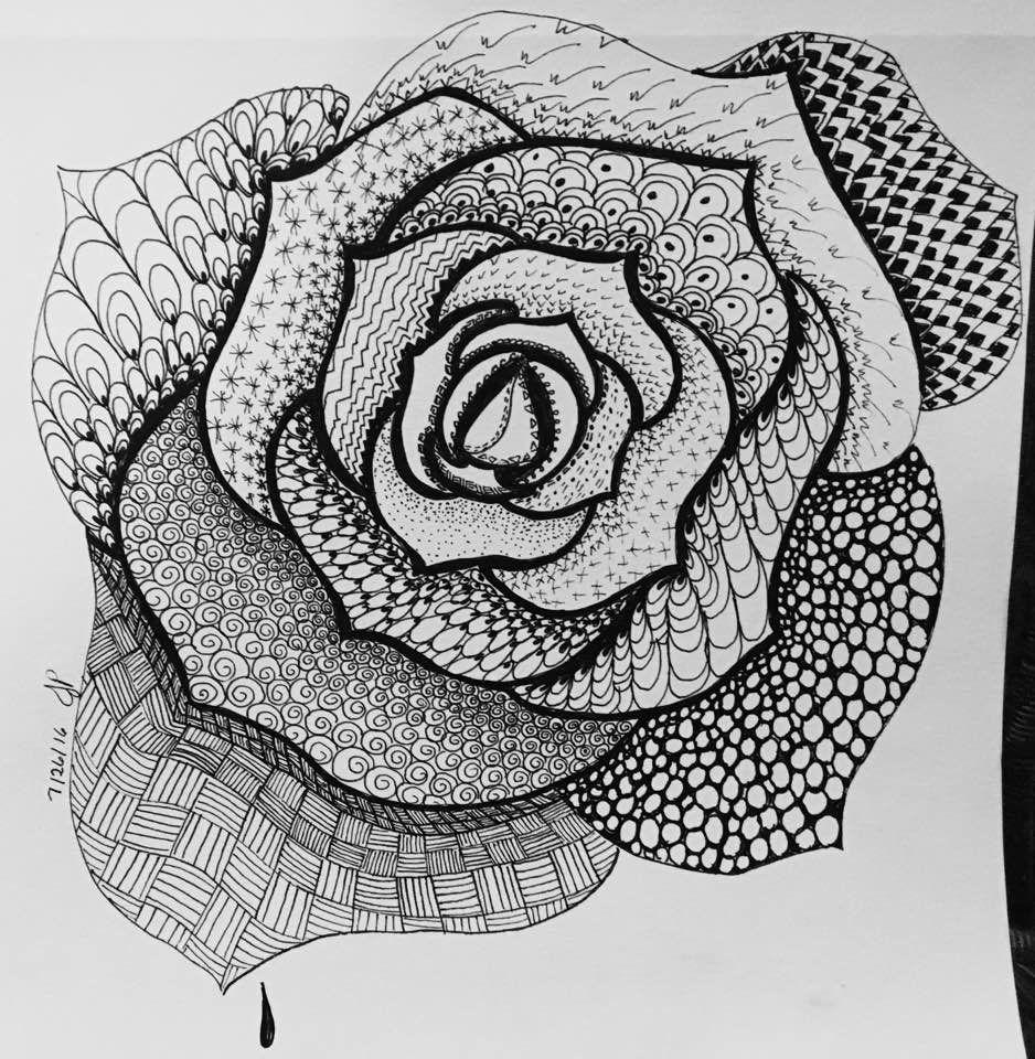 Zentangle Zendoodle Rose Zentangle My Tangled Heart Pinterest
