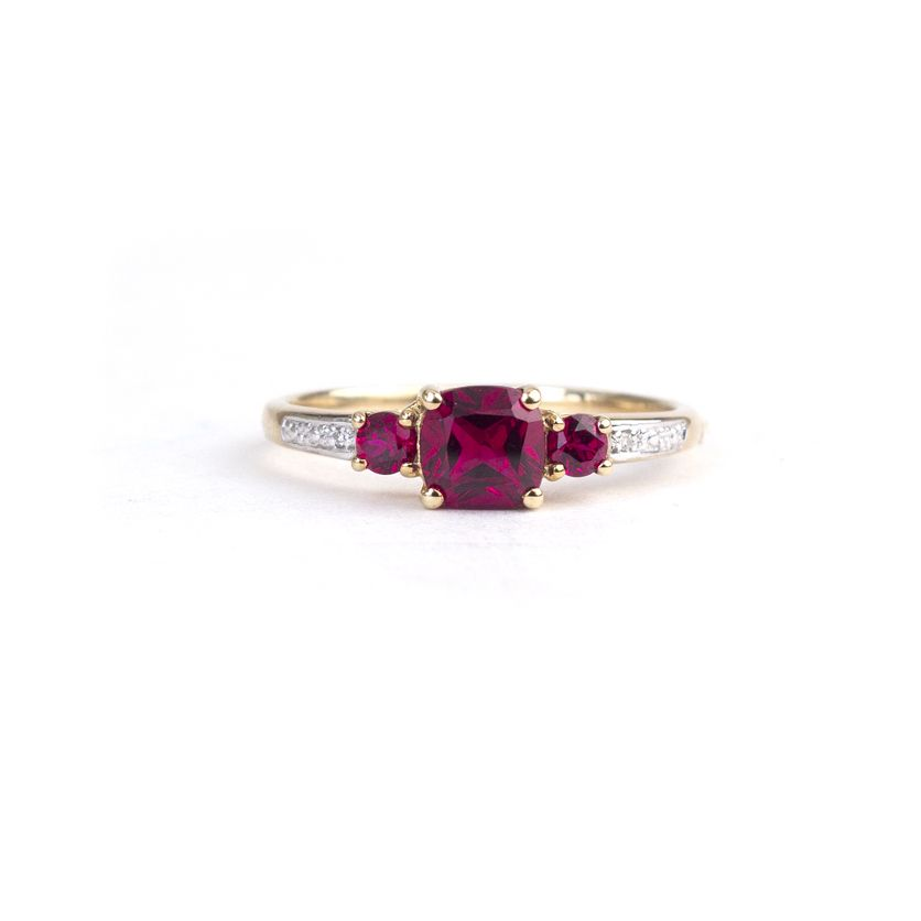 9ct Yellow Gold ring with created ruby and white diamonds www ...