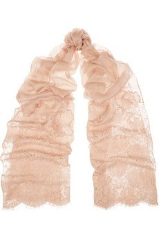 a61153d16 Valentino Lace-paneled modal and cashmere-blend gauze scarf | NET-A ...