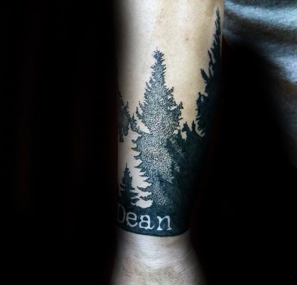 Pine Tree Forest Name Wrist Tattoo For Men With Negative ...