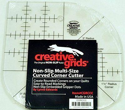 Creative Grids Sewing Curved Corner Ruler Cutter, Non Slip, CGRCC