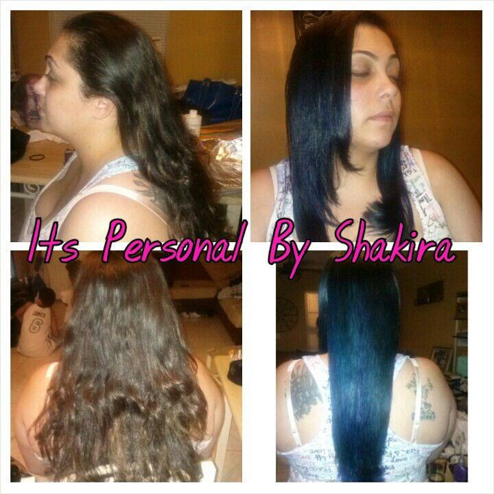 Color Ombre Blue Hair Green Hair Flat Iron Silk Press Green Hair