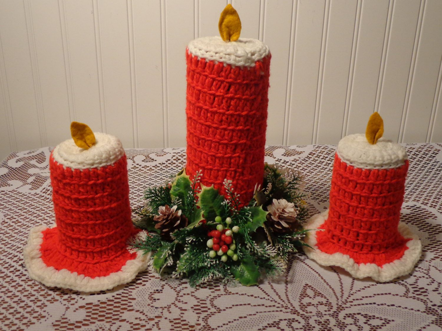 Vintage Christmas Yarn Candlesticks - Red Crochet Christmas ...