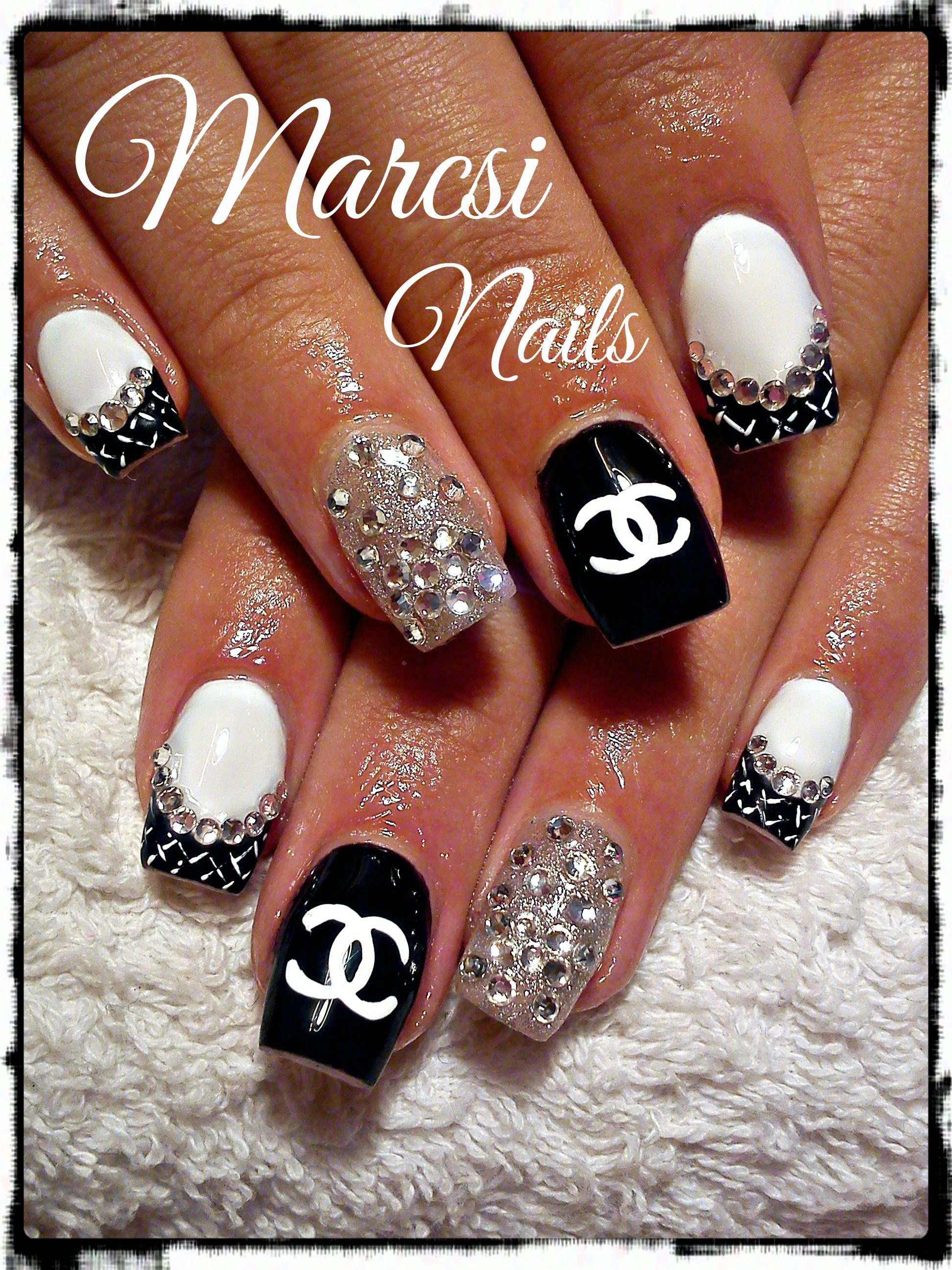 Channel Nail Art Design Black And White Nail Art With Stone The
