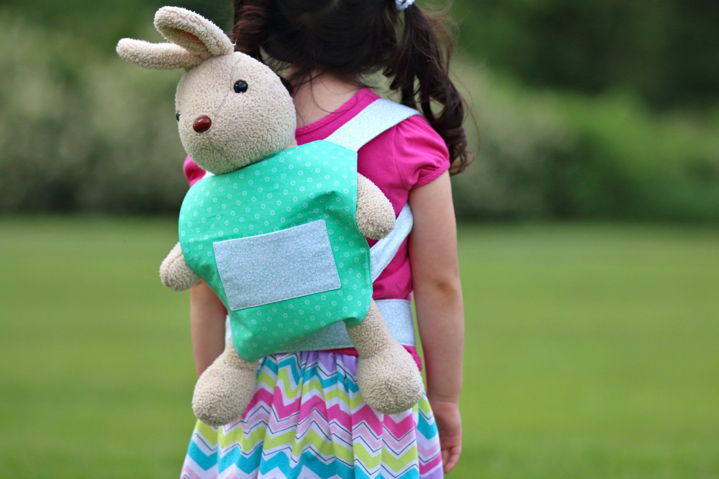 Green Flowers baby doll carrier stuffed animal carrier