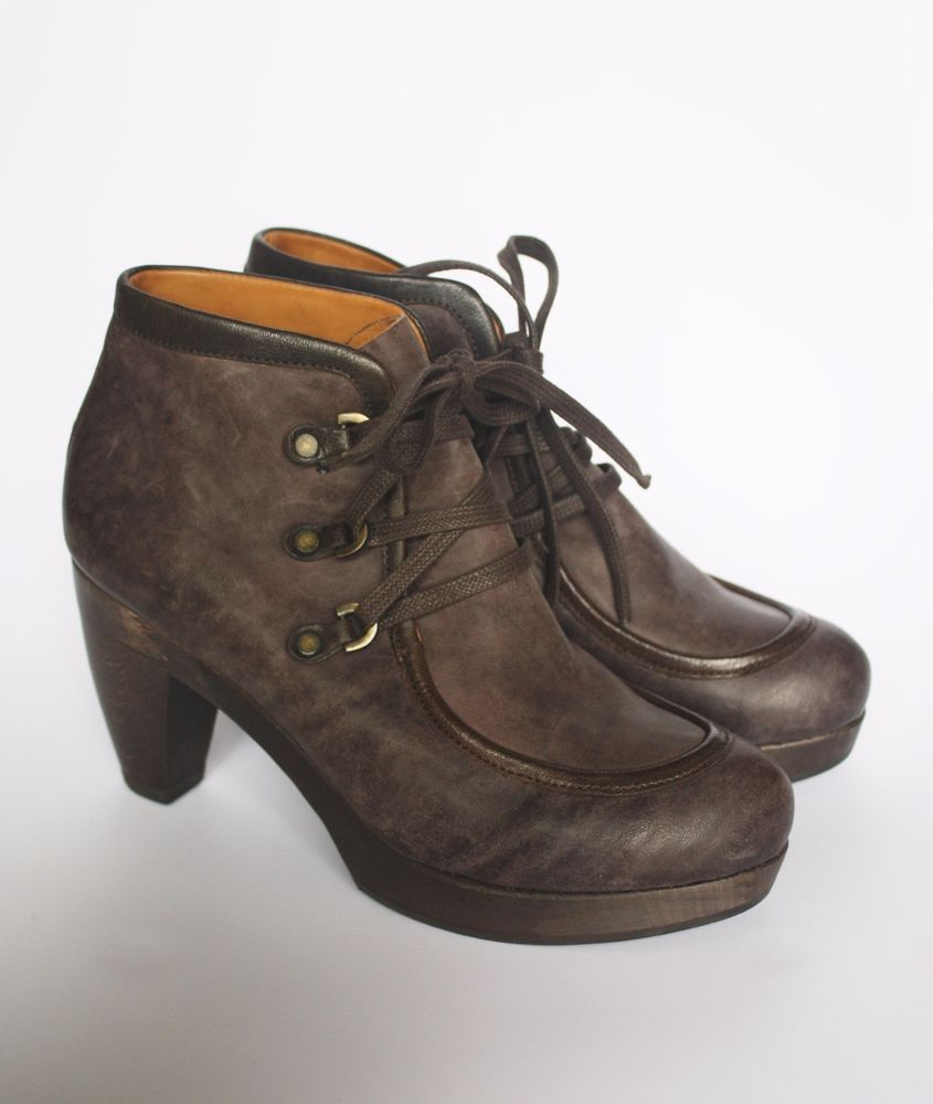 COCLICO NIKO CLOG BOOTIES 37 Anthropologie Shoes Lace Up Ankle Boots 6.5 7 Heels #Coclico #AnkleBoots #Any