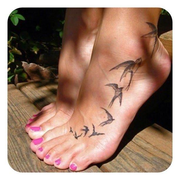 Tattoos Of Flying Birds On Leg Black Birds On Leg Tattoos Incredible Leg Tattoo With Flying Feather Bi Ankle Tattoos For Women Tattoos Foot Tattoos For Women