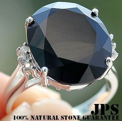 HUGE-RARE 13.70 cts BLACK SPINEL & WHITE SAPPHIRE RING SOLID 925SS NR S#7  100% SOLID 925SS & NATURAL STONE + GEM REPORT (Just Beautiful)