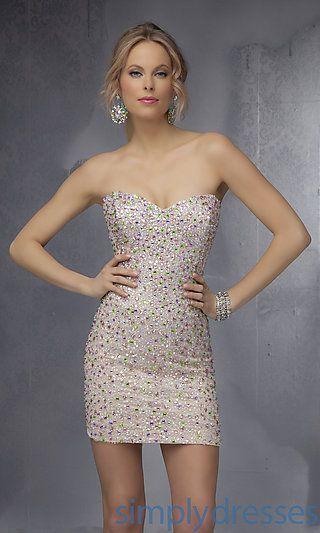 Beaded Short Strapless Mori Lee Dress at SimplyDresses.com