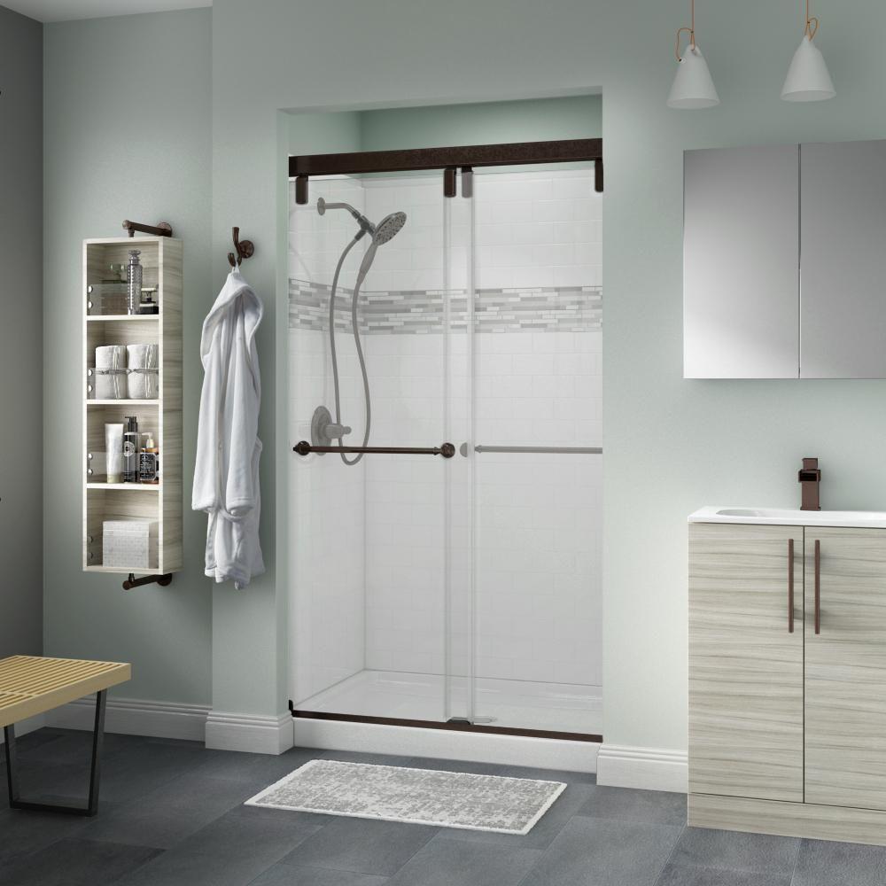 Delta Mandara 48 X 71 1 2 In Frameless Mod Soft Close Sliding Shower Door In Bronze With 1 4 In 6mm Clear Glass Sd3442528 Shower Doors Shower Remodel
