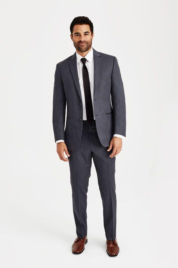 medium gray suit with brown shoes aampa wedding groom