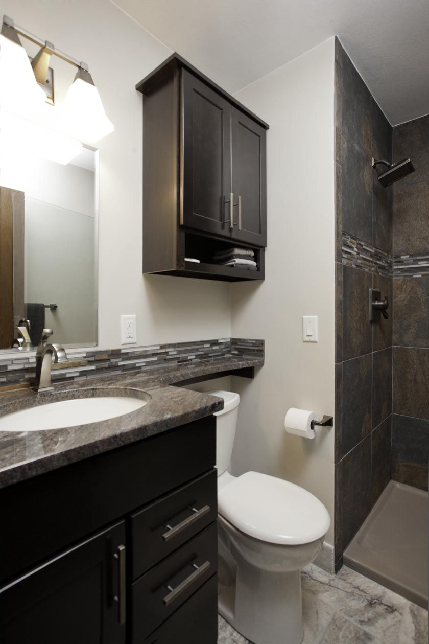 Time Remodel Job Low Curb Shower Integrated Vanity Top And Over Toilet Shelf