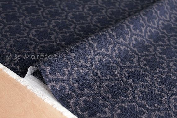 Japanese Fabric With Reality - faux wool jacquard canvas - flowers - navy - 85% cotton, 15% linen, brushed canvas