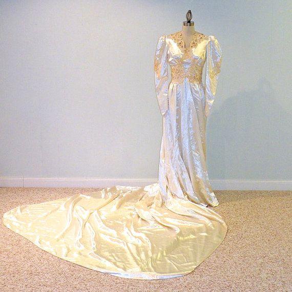 1940s Wedding Dress, 40s Ivory Slipper Satin Wedding Gown & Beaded HeadPiece by daisyandstella, $250.00  https://www.etsy.com/listing/69328110/1940s-wedding-dress-40s-ivory-slipper