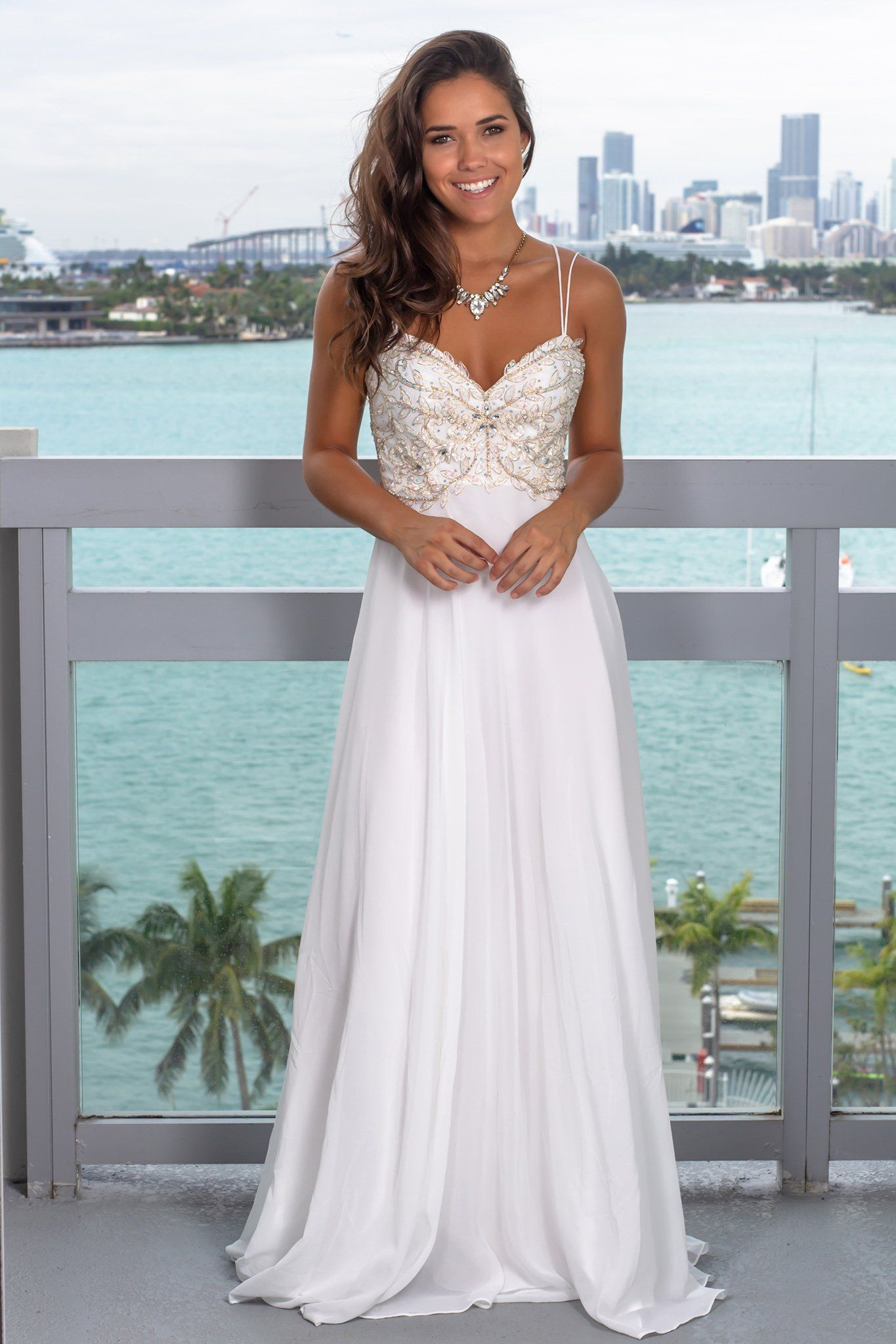 Wedding Dresses Off White Maxi