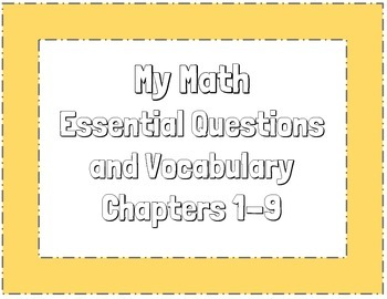 Mcgraw Hill Mymath Essential Questions And Vocabulary 3rd Grade