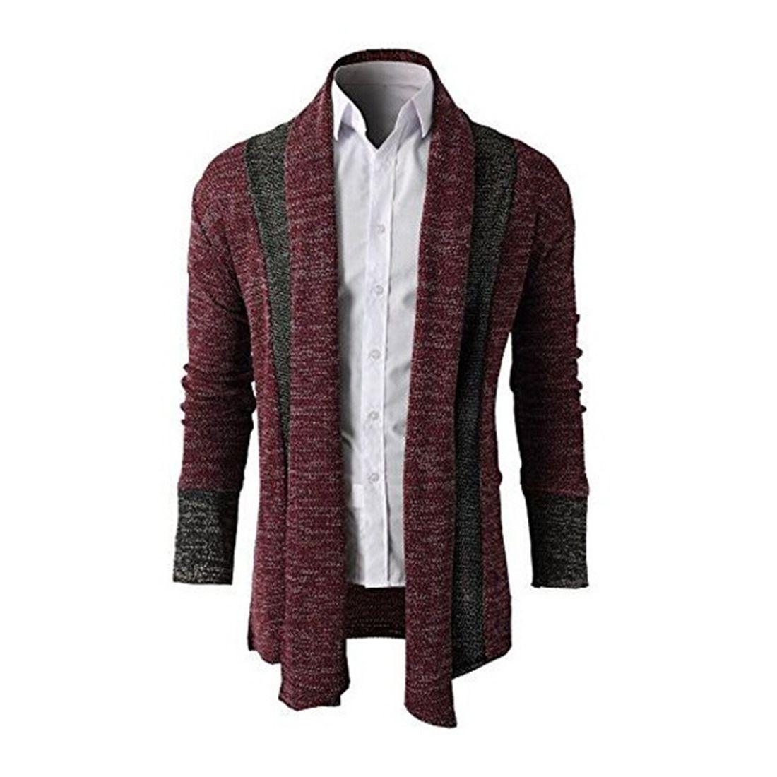 M-2XL Knitting Cardigans Coats Men Patchwork Red Gray Outwear 2017 ...