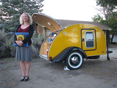 Tiny Yellow Teardrop Introducing The Sunflower And A Little Teardrop History Teardrop Trailer Teardrop Camping Teardrop Caravan