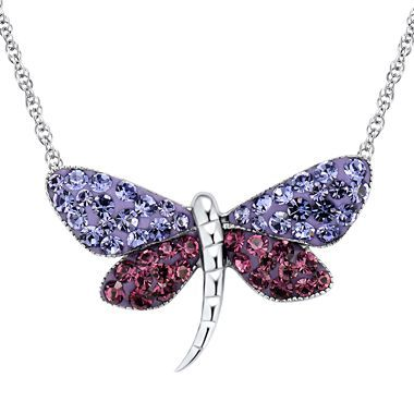Sterling Silver Blue & Purple Crystal Dragonfly Pendant - jcpenney