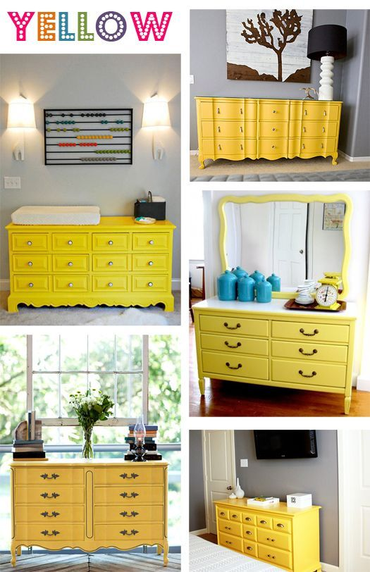 Brown Wooden Dressers Painted In Bright Yellow Groc Blanc Turquesa O Negre