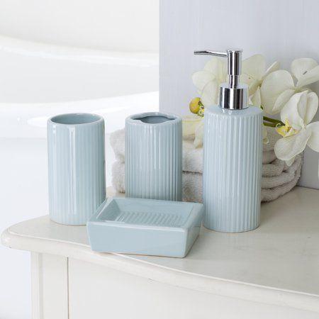 Piece Ceramic Bath Accessory Set Aqua, Light Blue Bathroom Accessories