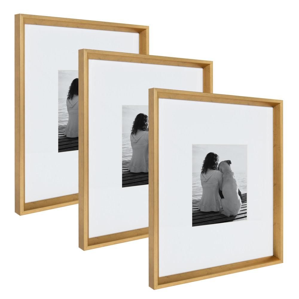 Kate And Laurel Calter 16 In X 20 In Matted To 8 In X 10 In Gold Picture Frame Set Of 3 Gold Picture Frames Rose Gold Picture Frame Picture Frame Sets