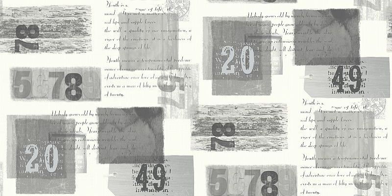 Camden Mono (620001) - Arthouse Wallpapers - A montage of numbers, words and colour patches. The text is a celebration of keeping young....youth is a state of mind not a number of years. Shown in black, grey and white. Other colours available. Please request sample for true colour match.