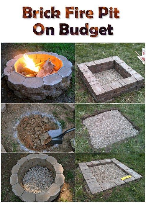 Brick Fire Pit On Budget Diy Outdoor Fireplace Brick Fire Pit Backyard Fire