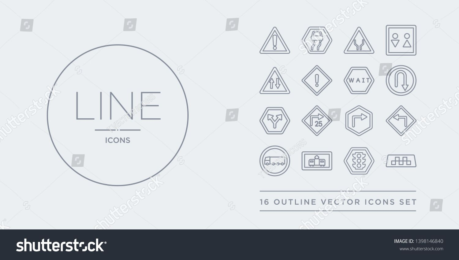 16 line vector icons set such as taxi traffic lights tram truck turn left contains turn right turn with advisory speed two ways u taxi traffic lights tram from traffic si...