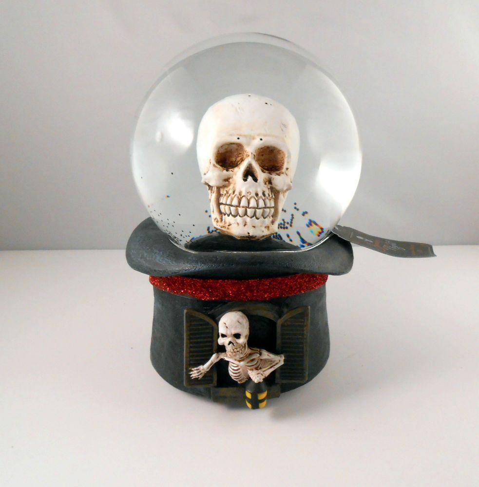 Halloween Snow Globe Led Lighted Décor Large Skull Skeleton On Black Hat Snow Globes Light Decorations Black Hat