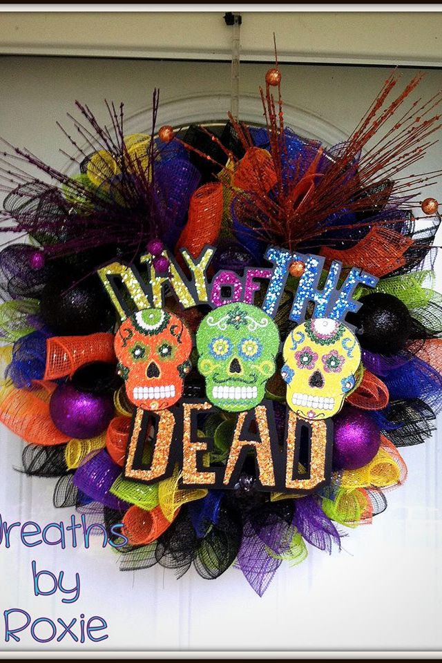 dia de los muertos day of the dead wreaths by roxie halloween wreathshalloween decorationsmexican