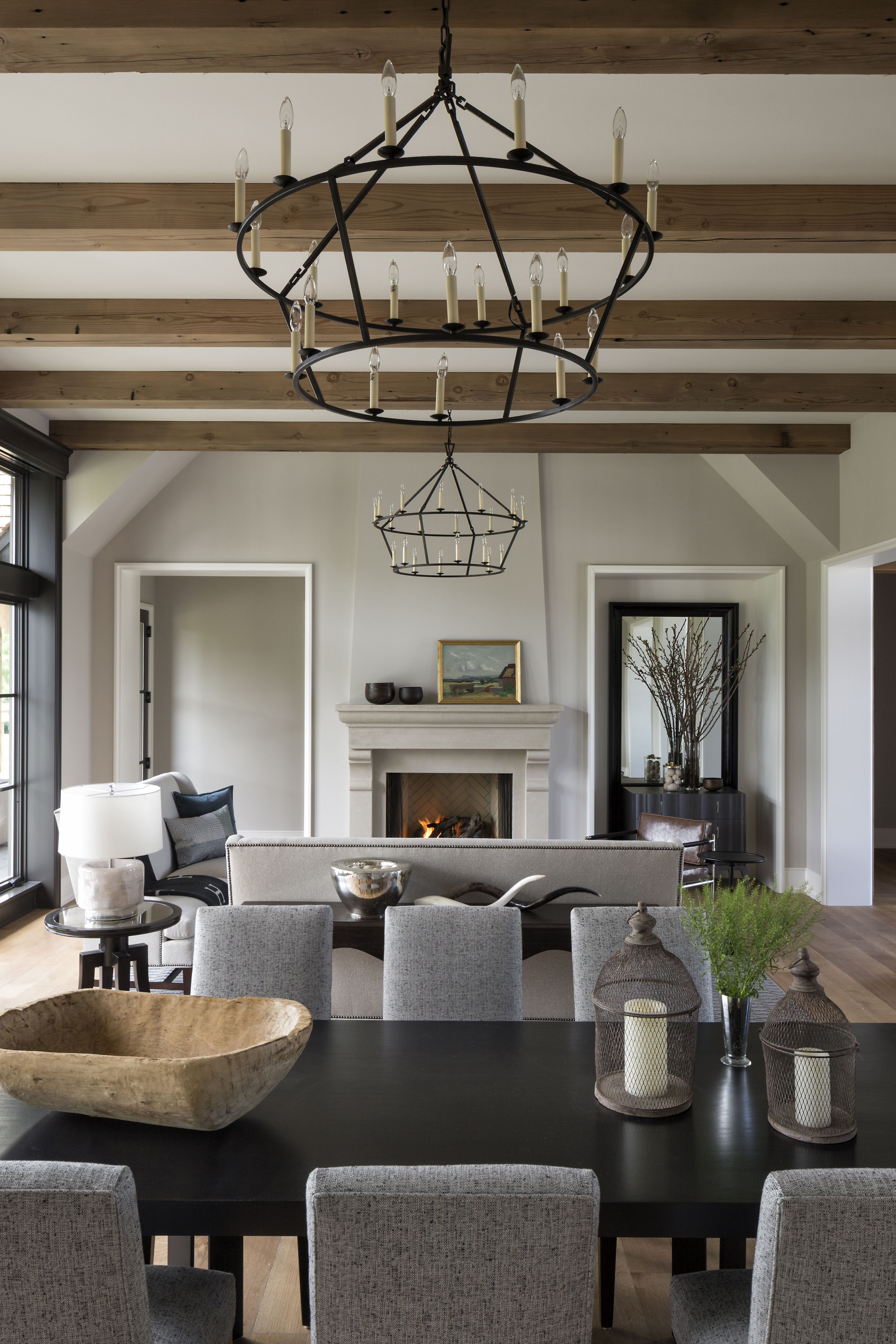 Wood Beams And Lighting In An Artisan Home From Hendel Homes