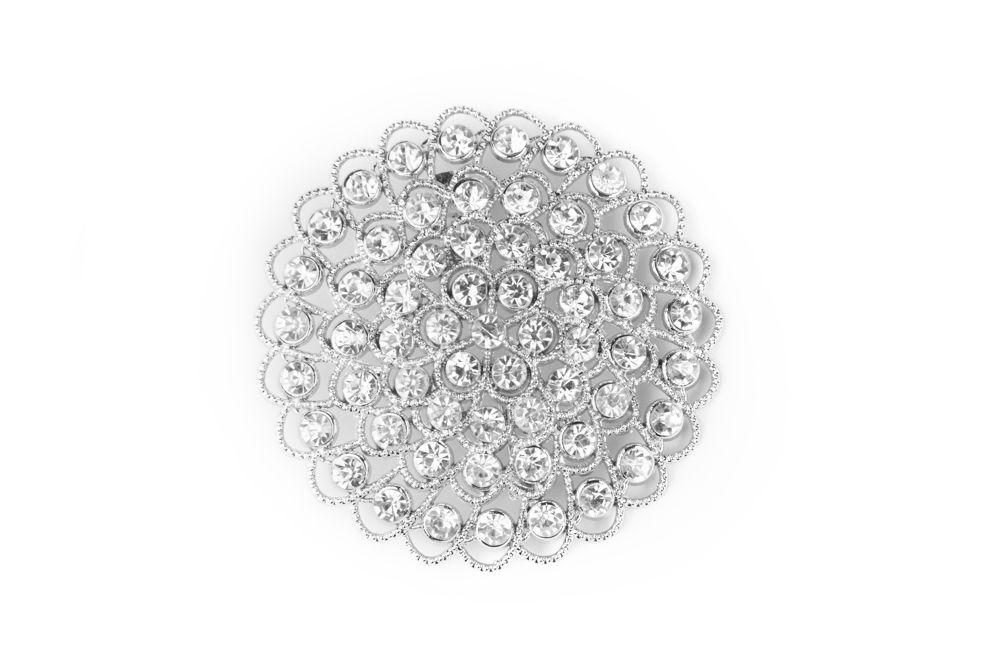 GB80 Bridal Sash Rhinestone Brooch Pin Silver Crystal Glass Accessory DIY