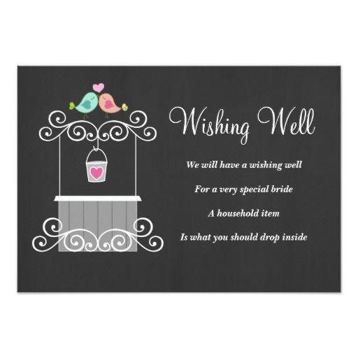 Chalkboard Wishing Well Lovebirds 3.5x5 Paper Invitation Card